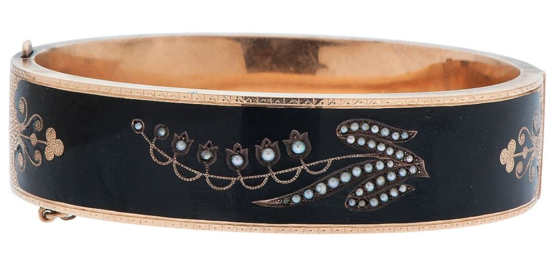 enamel and pearl mourning bracelet